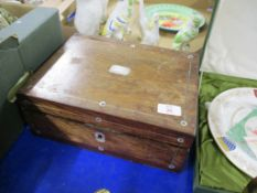 WOODEN JEWELLERY BOX WITH INLAID SILVER METAL DECORATION