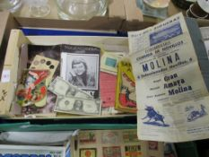 TRAY CONTAINING VARIOUS EPHEMERA ITEMS INCLUDING SOME COPIES OF US CURRENCY, POSTERS AND BOOK