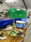 BRASS DESK LAMP WITH GREEN SHADE