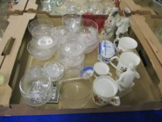 CERAMIC AND GLASS WARES INCLUDING COMMEMORATIVE AYNSLEY MUG AND A ROYAL WORCESTER COMMEMORATIVE