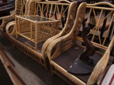 MODERN CANE CONSERVATORY SUITE COMPRISING SOFA, PAIR OF CHAIRS AND A COFFEE TABLE