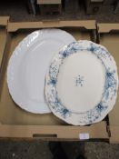 BOX CONTAINING TWO LARGE SERVING DISHES