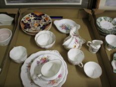 TRAY CONTAINING ROYAL CROWN DERBY TEA WARES AND 19TH CENTURY DERBY JAPAN PATTERN PLATES