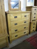 LIGHT OAK CHEST OF TWO SHORT AND THREE FULL WIDTH DRAWERS, 1M WIDE