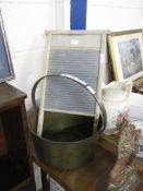 BRONZED METAL BUCKET WITH WOODEN WASHBOARD