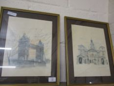 TWO WATERCOLOURS OF TOWER BRIDGE AND HORSEGUARDS PARADE, BOTH IN GILT FRAMES