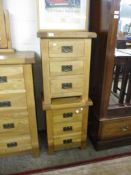 PAIR OF LIGHT OAK THREE DRAWER BEDSIDE CABINETS, 50CM WIDE