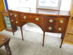 19TH CENTURY MAHOGANY BOW FRONTED SIDEBOARD, 167CM WIDE