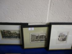 SERIES OF THREE PRINTS INCLUDING NORWICH MARKET PLACE AND ETHELBERT GATE, NORWICH