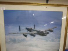 PRINT OF A LANCASTER BOMBER BY GERALD PALMER