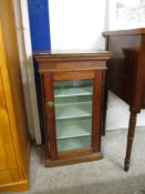 SMALL STAINED WOOD GLAZED FRONTED CABINET, 46CM WIDE
