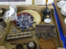TRAY CONTAINING CERAMIC AND METAL ITEMS INCLUDING COFFEE MILL, FACE MASK ETC