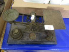 SET OF VINTAGE POST OFFICE SCALES WITH TARIFF STARTING AT 1D