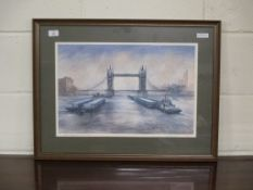 SIGNED LIMITED EDITION PRINT, BARGES UNDER TOWER BRIDGE