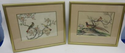 Pair of Oriental watercolours in gilt frames, one of pheasants, the other of birds on branches (2)