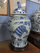 Large Chinese porcelain jar and cover, the baluster body decorated with Chinese figures, the cover