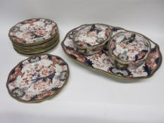 Group of Royal Crown Derby dinner wares including two tureens and covers, a large meat platter and