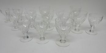 Group of seven 19th century rummers together with a number of smaller glasses in similar style, (