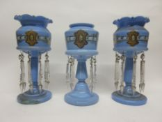 Set of three blue glass table lustres with floral and gilt decoration, tallest 31cm high (3)
