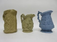 Group of 19th century relief decorated jugs by various manufacturers including Wood & Brownfield,