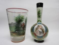 Glass vase decorated in Vienna style with a print of a maiden, together with a further large glass