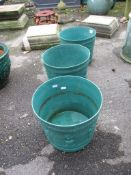 THREE MOULDED PLASTIC PLANTERS, EACH APPROX 27CM