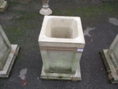 SQUARE MOULDED PLANTER, HEIGHT APPROX 53CM