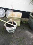 SQUARE COMPOSITION PLANTER, APPROX 38CM TOGETHER WITH A SMALL GLAZED TERRACOTTA EXAMPLE, APPROX 27CM