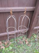 PAIR OF METAL GARDEN PLANT STANDS, EACH APPROX 106CM