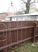 LARGE METAL GARDEN PLANT SUPPORTS, EACH APPROX 186CM