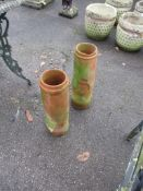PAIR OF TERRACOTTA CHIMNEY POTS, EACH APPROX 48CM HIGH