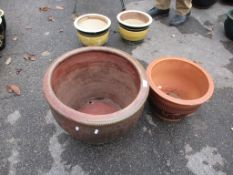 TWO VARIOUS PLANTERS, LARGER APPROX 47CM DIAM