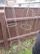 PAIR OF TALL METAL GARDEN PLANT SUPPORTS, EACH APPROX 142CM