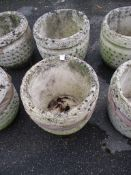 PAIR OF CIRCULAR MOULDED PLANTERS, EACH DIAM APPROX 34CM