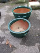 TWO SIMILAR DECORATIVE GLAZED PLANTERS, EACH WITH ORIENTAL AND GREEK KEY MOULDING, LARGER APPROX