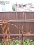 PAIR OF METAL FLOWER ON STICK GARDEN ORNAMENTS, EACH APPROX 152CM