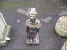 SMALL MOULDED FIGURE OF AN ORIENTAL WARRIOR, HEIGHT APPROX 63CM