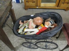 VINTAGE DOLLS PRAM CONTAINING COMPOSITION DOLL, VARIOUS SOFT TOYS ETC