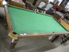 AN OAK BILLIARD TABLE RAISED ON FLUTED SQUARE SUPPORTS, 195CM LONG