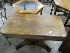 19TH CENTURY ROSEWOOD FOLD TOP CARD TABLE ON TRIPOD BASE (ALTERED), 92CM WIDE
