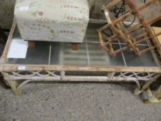 CANE AND GLASS TOPPED COFFEE TABLE, 105CM WIDE