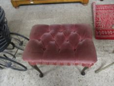 PINK UPHOLSTERED DRESSING TABLE STOOL