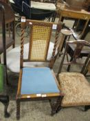 LIGHT OAK CANE BACKED DINING CHAIR