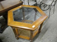 REPRODUCTION HEXAGONAL GLASS TOPPED OCCASIONAL TABLE WITH CANE UNDER-TIER, 76CM WIDE