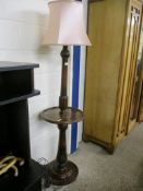 OAK LAMP STANDARD WITH CENTRAL CIRCULAR SHELF, 180CM HIGH