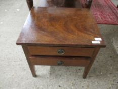 MAHOGANY LOW TWO-DRAWER BEDSIDE CABINET, 51CM WIDE