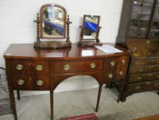 REGENCY PERIOD MAHOGANY BOW FRONTED SIDEBOARD FITTED WITH FOUR DRAWERS, 167CM WIDE