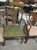 CHIPPENDALE STYLE OAK CARVER CHAIR