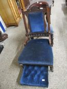 LATE 19TH CENTURY MAHOGANY LADIES CHAIR TOGETHER WITH ANOTHER (2)