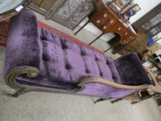 19TH CENTURY PURPLE UPHOLSTERED MAHOGANY CHAISE LONGUE WITH SCROLLED END, 196CM LONG